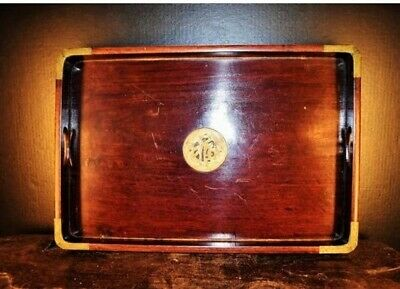 Vintage Chinese rosewood large service tray w. brass mounted