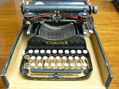 CORONA # 3 Folding Typewriter In Case. Antique.