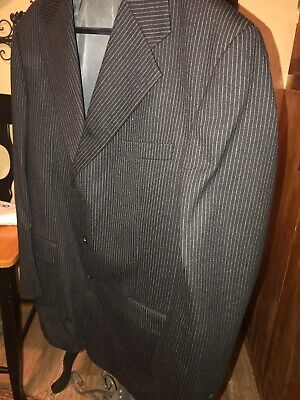 Fabulous Mens 100% Wool  Black Silver Pin Stripe Suit, 48-50