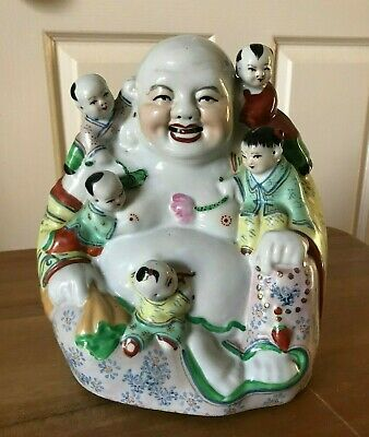 Vintage Chinese Porcelain Laughing Buddha Figure Surrounded By Children mid 20th