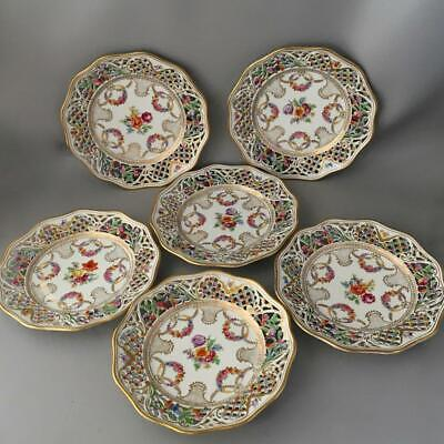 Antique Vtg Schumann Bavaria Porcelain Flowers Reticulated Dessert Plate Set 6
