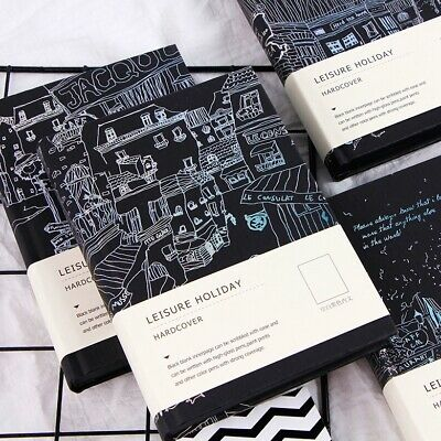 """Leisure Holiday"" 1pc Hard Cover Diary Black Papers Notebook Journal Sketchbook"