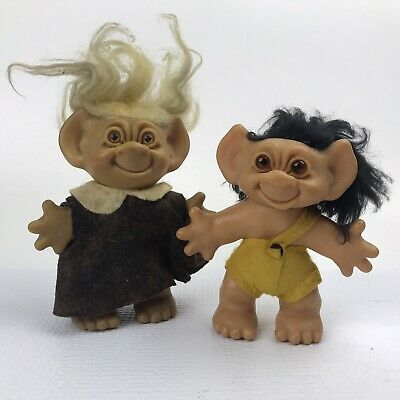 "Vintage 70's Thomas DAM Caveman 5 1/2"" Troll and Uneeda Wishnik Marked 6"" Troll"