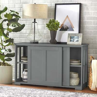 Cabinet Kitchen Stackable Storage Wood Buffet Sliding Panel Doors Gray New