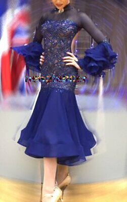 Ballroom Waltz Tango Standard Dance Dress US 8 UK 10 Two Blue Lace