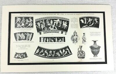 1897 Antique Print Ancient Greek Terracotta Pottery Vase Bowl Decoration