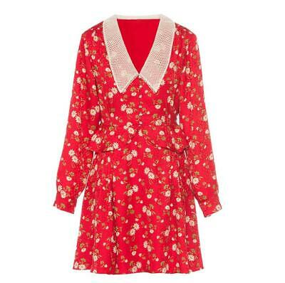 2020 Womens Runway Designer Inspired French Style Little Daisy Red Dress
