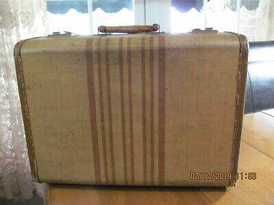 Vintage Small Suitcase Tweed With Stripes No Keys