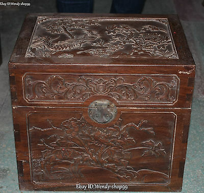 "17"" Chinese Boxwood Wood Tree Peony Flower Birds Cabinet Box Case Boxes Statue"