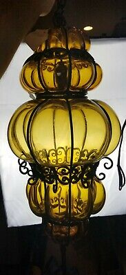 """Vintage Spanish Amber Caged Glass Light Fixture 19""""x10"""""""