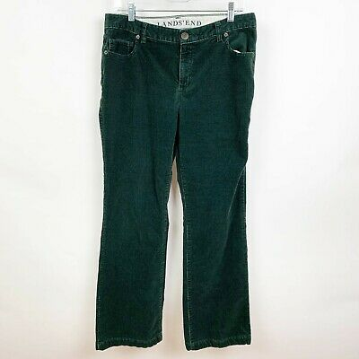 Lands End Women's Casual Corduroy Pants Straight Leg Mid Rise Green Size 10