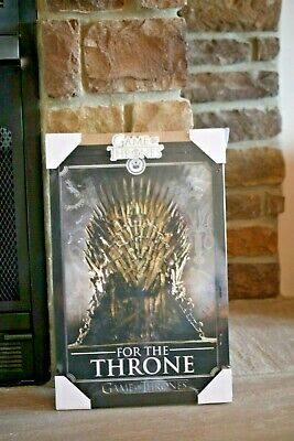 """New Game Of Thrones Wall Plaque """"For The Throne"""" Black Frame 19"""" X 12"""" Sealed!!"""
