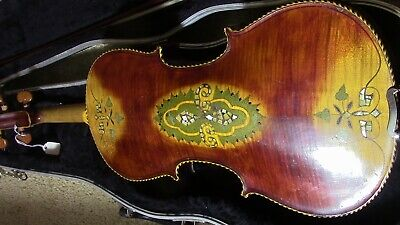 Violin-Fiddle-Antique-Vintage-old-Used-4/4 Beautiful inlaid