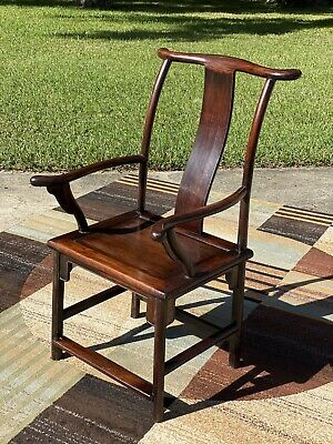 Antique Yoke back Chinese Arm Chair Hand Carved Dowel Shipping avai