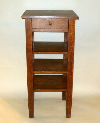 Tall Antique Arts & Crafts Mission OAK BOOKCASE SHELF w One Drawer