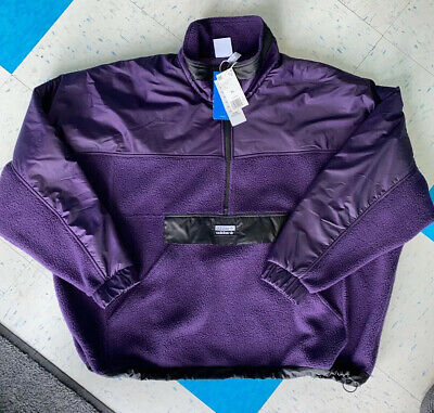 Adidas ED7185 RYV Track Fleece Jacket Purple Sherpa Fleece Men's Size XL NWT