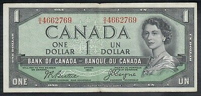 1954 Bank Of Canada 1 Dollar Devil's Face Bank Note Beattie