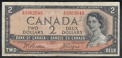1954 Bank Of Canada Devil's Face 2 Dollars Bank Note Beattie