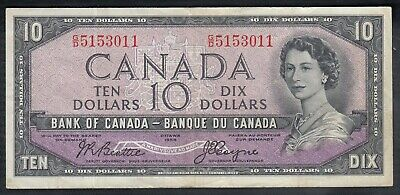1954 Bank Of Canada Devil's Face 10 Dollars Bank Note Towers