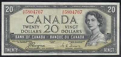 1954 Bank Of Canada Devil's Face 20 Dollars Bank Note Towers