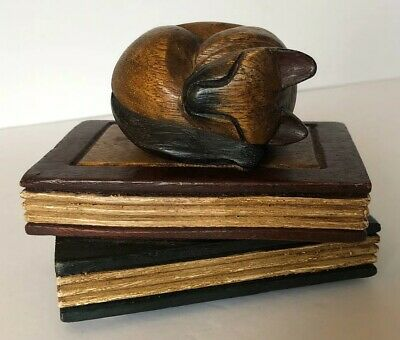 Vintage Solid Wood Carved Sleeping Siamese Cat Figurine On Stack Of Books