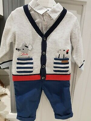 M&S BABY BOYS UP TO 3 to 6 MONTHS pants SHIRT CARDIGAN SET MARKS AND SPENCER