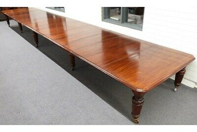 Enormous Large Early 20th Century Wind-Out Mahogany Dining Boardroom Table 816cm