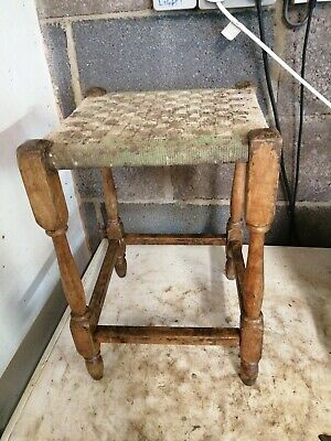 """Vintage Rush And Oak?  Stool  17"""" tall stool project"""