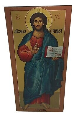 VTG Orthodox icon Jesus Christ Pantocrator Greek Holy Card Prayer Antiochian