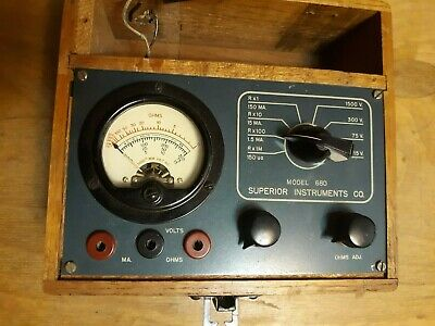Superior Instruments Model 680 - Vintage Instrument in Case Volt/Ohmmeter AC/DC
