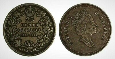 Canada 1908 - 1998 Proof Twenty-Five Cent Piece With Antique Finish!!