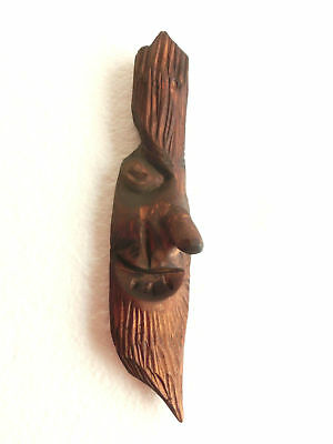 OLD hand carved wooden male face with beard and mustache wall hang > carving ART