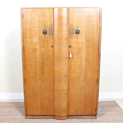 Vintage Oak Wardrobe Art Deco Armoire Light Oak