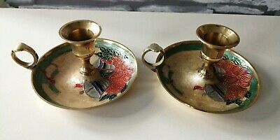 Pair of Brass Wee Willie Winkie Chamberstick Candle Holder