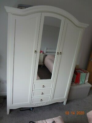 French Style Antique White Triple Door Armoire