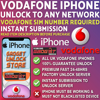 Unlock Service For iPhone 4 5 5S 5C SE 6 6S 7 8 X XS XR 11 Max Pro Vodafone UK