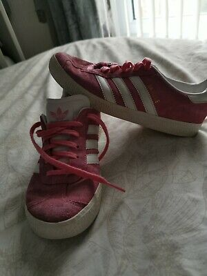 Adidas Gazelle Ortholite Girl's Pink And White Suede Trainers Shoes Size Uk 2
