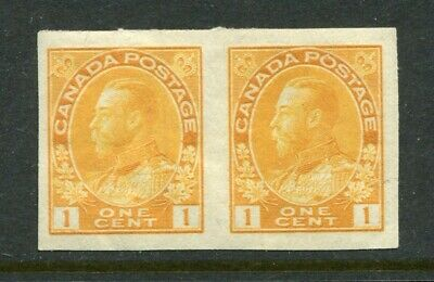 CANADA Scott 136 - M/H - 1¢ Yellow King George V Admiral Imperf BLK of 2 (.032)