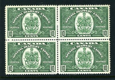 CANADA Scott E7 - XLH / NH - BLK of 4 - 10¢ Green Special Delivery (.004)