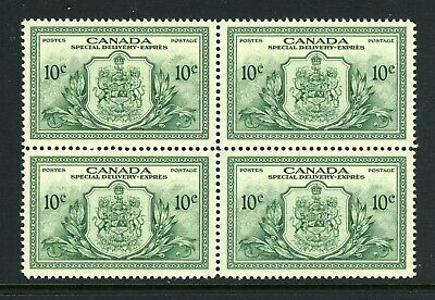 CANADA Scott E11 - XLH / NH - BLK of 4 - 10¢ Green Special Delivery (.065)