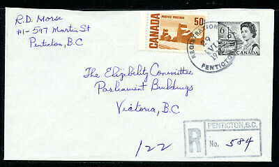 Canada 1971 Registered Penticton, BC cover with boxed handstamp, Centennail