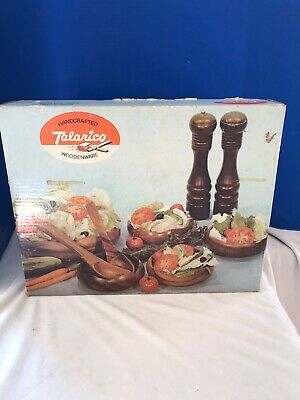 Vintage Boxed Talarico 9 Piece Woodenware Salad Fruit Bowl Set Handcrafted