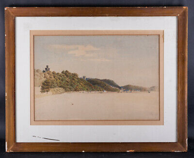 "Large Early 20th Century American Impressionist Watercolor ""Beach Scene"""