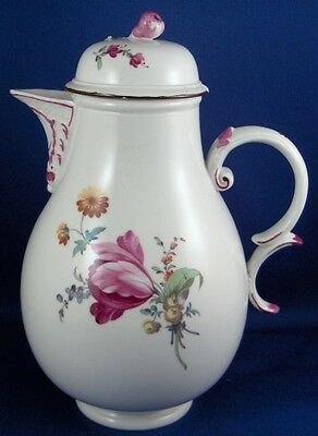 Antique 18thC Hoechst Porcelain Floral Small Coffee Pot Porzellan Kanne Hochst