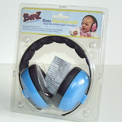 Banz Baby Hearing Protection Mini Earmuffs ~ Baby Blue ~  Infants 3 Months +