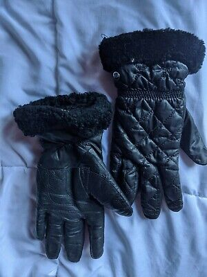UGG Shorty Shearling-Cuff Leather Tech Gloves - Black - Size L/XL - Pre Owned
