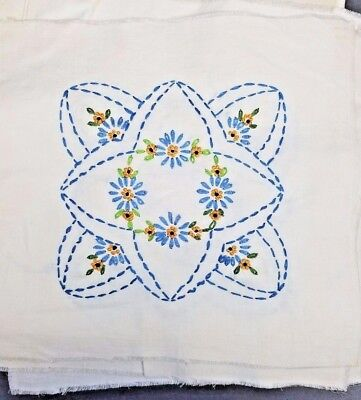 16 Quilt Blocks Embroidered Yellow Variegated Blue Green Vintage Cotton