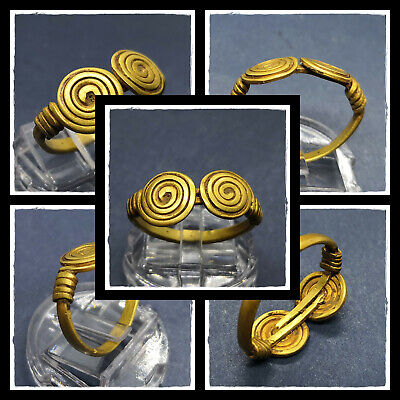 ** TWO SPIRALS ** ancient PURE GOLD CELTIC RING !!!  6,49g  CIRCA 50 BC
