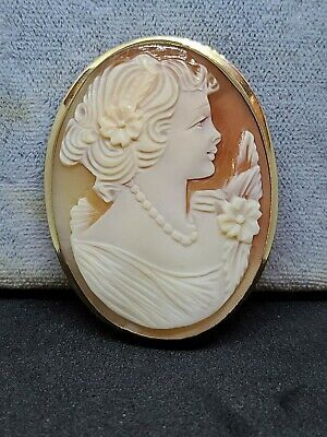 Large Antique Solid 14k 551 Gold frame Cameo Lady Brooch Pin Pendant Victorian