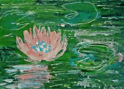 Original ACEO - Water lilies - miniature abstract acrylic painting, outsider art